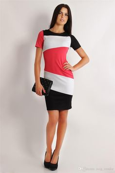 Fashion Women Bodycon Patchwork Dress with Large Striped High Waist Sexy Pencil Dresses for OL Work Suits Slim