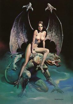 """- Boris Vallejo. Incubus. But what you mention first is a gorgeous succubus! I wonder if Vallejo had mixed up the """"incubus"""" and """"succubus"""", or does the title points that this cute guy also... uhh... hm..."""
