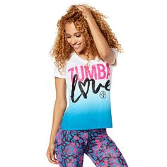 ZUMBA LOVE V NECK - ROYAL BLUE -------------- Wear your heart on your tee in the Zumba Love V Neck! With a unique ombre effect and Z-Dri™ technology, this fan fave tee is perfect for working up a sweat!