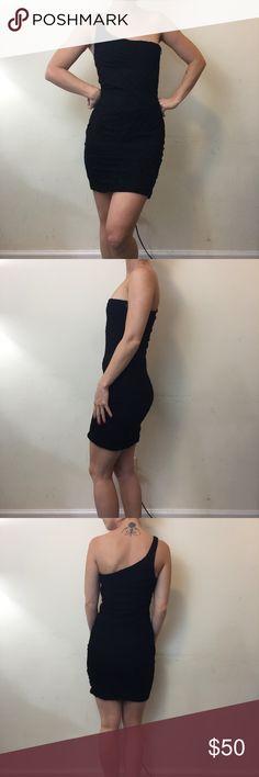 Torn by Ronny Kobo Black One Shoulder Dress Torn by Ronny Kobo Dress Black and is a size extra small. Very cute and is lined. Torn by Ronny Kobo Dresses