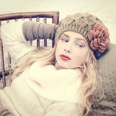 handmade rose beige flower hat by MojoSpaStyle