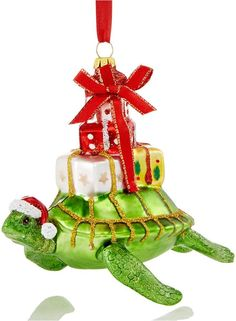 Holiday Lane Glass Swimming Turtle with Presents Ornament, Created for Macy's