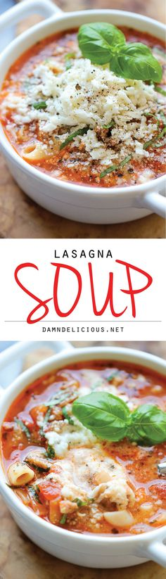 Lasagna Soup - All the flavors of lasagna in a comforting, cheesy soup with a dollop of ricotta that gets melted right into the soup! Recipe via damndelicious.net.