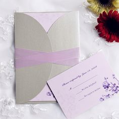 Elegant Purple Flower Pocket Invitations With Ribbons IWGY089