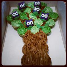 Funfetti cupcake cake with fondant owls