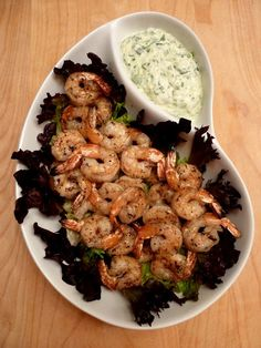Grilled Shrimp with Cucumber Horseradish Dipping Sauce