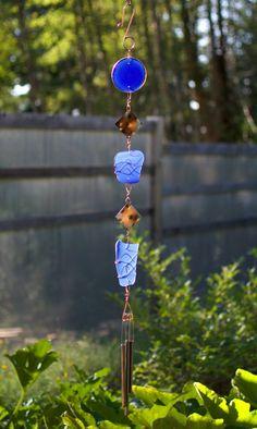 Wind Chime Blue Glass Copper Outdoor Windchimes