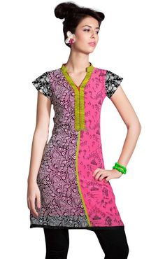 I like the collar and neckline in contrasting fabric. [chinese collar neck kurtis different designs style of latest prints top]