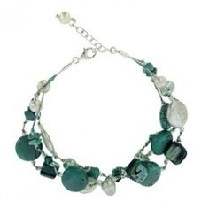 Sterling Silver Turquoise and Coin Pearl Adjustable Bracelet