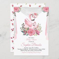 Watercolor Flamingo Baby Shower Invitation Baby Shower Invitation Cards, Baby Shower Invites For Girl, Floral Invitation, Custom Invitations, Flamingo Baby Shower, Boho Baby Shower, Floral Baby Shower, Girl Shower