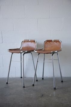 Charlotte Perriand (attributed) Leather Bar Stools