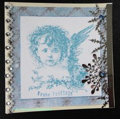 Wunderschön gestempelte Weihnachtskarte mit einem süßen Engel Frame, Handmade, Home Decor, Stamping, Xmas Cards, Angel, Crafting, Nice Asses, Picture Frame