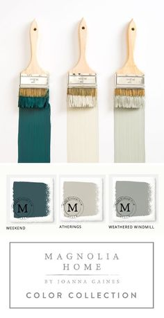 This collection of Magnolia Home Paint from designer Joanna Gaines offers a hug... - http://centophobe.com/this-collection-of-magnolia-home-paint-from-designer-joanna-gaines-offers-a-hug/ -      Grey entry, off white/yellow throughout w/green accent wall. Silver/green for dressing room.