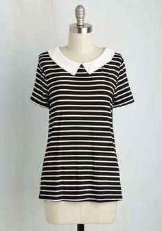 For Letter or Verse Top in Ink. Whether dropping a line to an old friend or prepping for a poetry reading in this striped top, youll feel as winsome as your written words! #black #modcloth