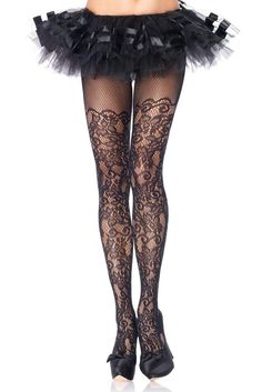 fd9be60f551 Plus Size Hosiery Lingerie Floral Lace Net Pantyhose Tights for sale online