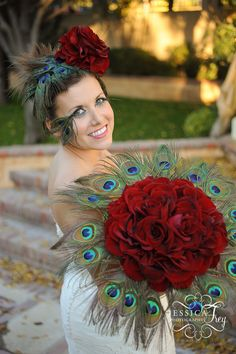 peacock wedding theme -the bouquet is awesome... No comment on the rest.