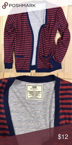 Urban Outfitter Chor Striped Blue And Red Cardigan