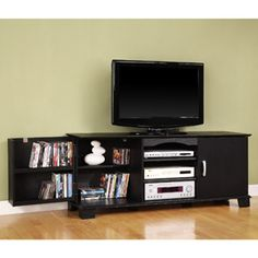 """Black Wood TV Stand with Media Storage, for TVs up to 65"""""""