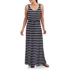 Stitch Women's Tie Waist Stripe Maxi Dress. Walmart.