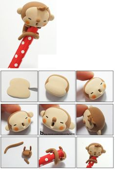 DIY fimo / clay / fondant little monkey  #howto #tutorial #diy #fimo #clay #fondant #monkey