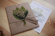 Zaproszenia ślubne rustykalne, konwalie, papier eco