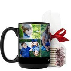 Simply Family Mug, Black, with Ghirardelli Peppermint Bark, 15 oz, Black