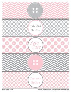 Cute as a Button Water Bottle Labels - Printable PDF - INSTANT DOWNLOAD