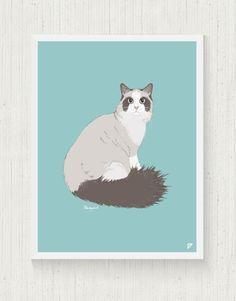 Cat Print 30x40 cm - Ragdoll  de Follygraph sur DaWanda.com