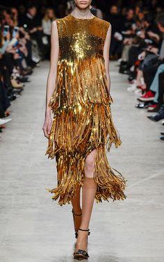 Pure gold Sequin Fringe Dress .