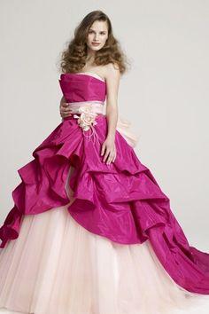 2a6421b613b5b ピンク ストラップレス チュール タフタ フラワー リボン フリル フロアー丈 編み上げ ボールガウン カラードレス Cly0024