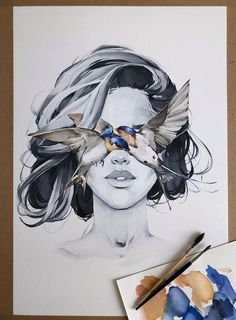 Barn Swallow blindfolded girl Art Print Hydrangea Fashion Blindfold Woman Contemporary Wall Decor Scandinavian by Polina Bright Portrait Au Crayon, L'art Du Portrait, Art Inspo, Inspiration Art, Art Sketches, Art Drawings, Pencil Drawings, Kreative Portraits, Art Du Croquis