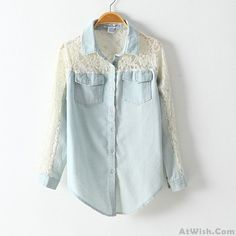 Wow~ Awesome Sexy Lace Slim Sleeved Denim Shirt! It only $32.9 at www.AtWish.com! I like it so much<3<3!