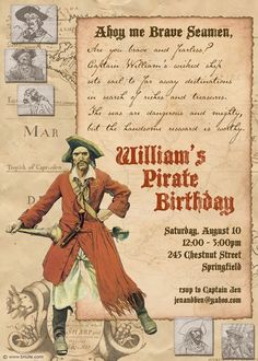 """PIRATE PARTY !!!!  Sounds perfect for our """"future"""" William's bday party huh???  LOVE YOU !!!!!  @Amy Jacks"""
