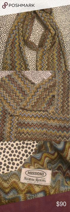 """Vintage Missoni scarf Vintage Missoni scarf. Long wool scarf w signature Missoni pattern. Label reads """"Missoni for Neiman Marcus Made in Italy"""" Multicolored contains blue, light blue, maroon, rust, gray, chartreuse, olive green, black, more. Gorgeous weave that you'll appreciate if you like textiles. Both front and back sides are lovely. Finished hem is designed to roll, so you can wear this as a normal scarf or a skinny scarf. Excellent vintage condition. Measures approx 87""""L, 9.5""""W…"""