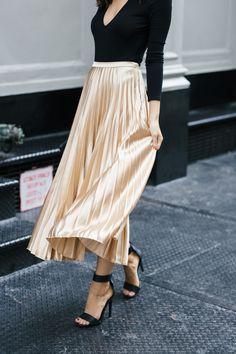 Metallic pleated skirt -- date night look!