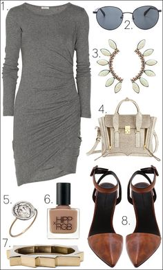Nice end of summer combo || LE FASHION BLOG OUTFIT COLLAGE TWO WAYS EFFORTLESS GRAY DRESS ||