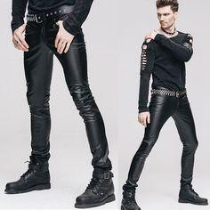 Black PU Leather Slim Fit Punk Rock Fashion Pants Trousers for Men SKU-11404040