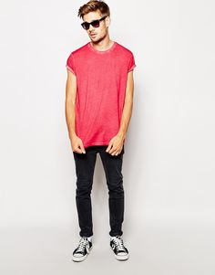 ASOS T-Shirt With Oil Wash And Rolled Sleeve Skater Fit