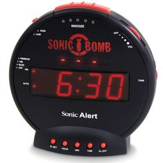 "The famous ""Sonic Bomb"" Alarm Clock for people who have a hard time waking up and who *have* to get up! 113 db ringer with adjustable alarm tone.Also can flash bright LED red lights and has a vibrating pad that goes under the mattress. AC and 9 volt backup battery. I know this works!  $34.95"