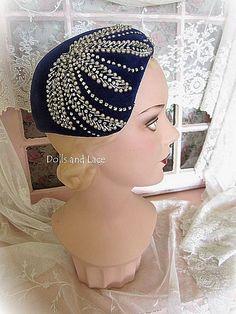 Vintage Estate Sapphire Hat with Beadwork