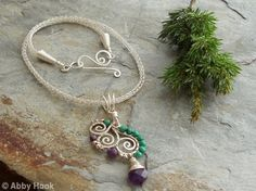 Cirrus Pendant with Viking knit chain necklace - Sale - 25 percent discount - Amethyst, Malachite and silver plated wire