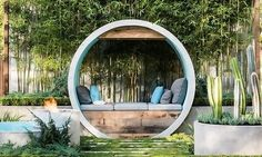 This unique garden is an all-season green meditation space where fire, water and greenery merge to create a quiet space.