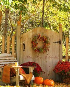 Get cozy and stylish this fall with pumpkins and wreaths.