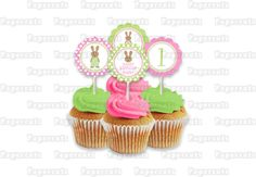 Printable DIY Pink and Green Bunny Rabbit Theme Girl Personalized Birthday Cupcake Toppers. $5.00, via Etsy.