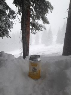 Snowy opening day at Vail with a local beer from Monument, CO