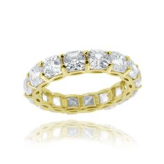 Icz Stonez Sterling Silver Asscher-cut Cubic Zirconia Eternity Ring (9.24ct TGW) (18k Gold Over Silver Size 5), Women's, Yellow