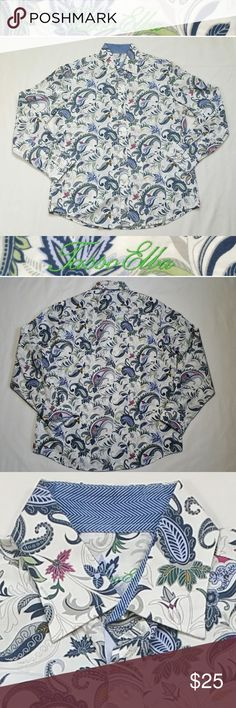"""Tasso Elba 15-15 1/2 Button Shirt Paisley Cotton Condition: Gently used, no flaws. Size: Medium, 15-15 1/2 Pattern/Color: Paisley/Multi-color Style: Button Down  Neckline: Point collar Sleeve Style: Long button cuff Material: 100% Cotton Care: Machine Wash  Approx. measurements (laying flat)  Shoulder to Shoulder:  19"""" Pit to Pit: 23"""" Length shoulder to bottom hem: 29.5"""" Sleeve length: 24.75""""  SKU 0330 Tasso Elba Shirts Casual Button Down Shirts"""