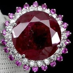 LUXURIOUS PIGEON BLOOD RED RUBY MAIN STONE 40.20 CT. SAPP 925 SILVER RING SZ 6 #Handmade #Ring