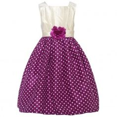 Mia Juliana Little Girls Wine Ivory Polka Dot Flower Christmas Dress 4-6X