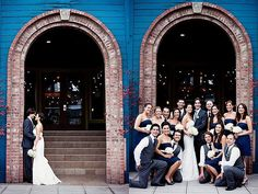 bridal party photo - like the idea of the bride & groom seperate